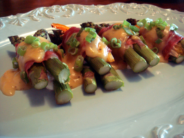 the asparagus, goat cheese, mango and red pepper wrapped in prosciutto
