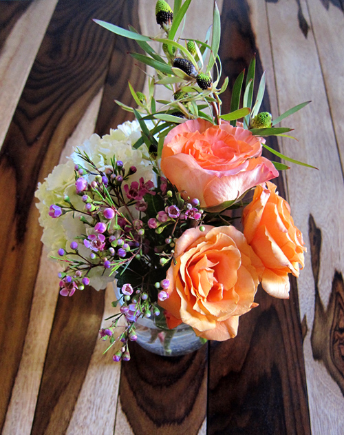 Rose hydrangea and wax flower arrangement - Tips for Floral Arrangement - >> joeandcheryl.com <<