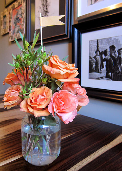 from the field orange peach rose flower arrangement with flag - Tips for Floral Arrangement - >> joeandcheryl.com <<