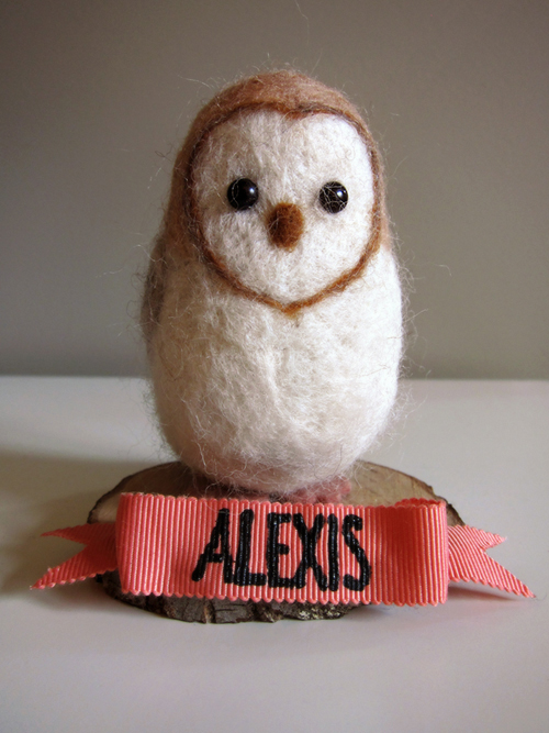 New Item at Cherbert Shop - Personalized Felted Wool Barn Owls! - >> joeandcheryl.com <<