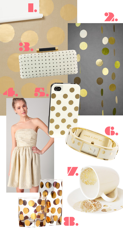 Trends I Love - Gold Polka Dots - >> joeandcheryl.com <<