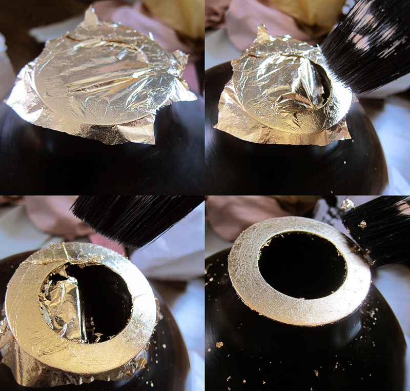 Wooden Vase Update Using Paint and Gold Leaf  - >> joeandcheryl.com <<