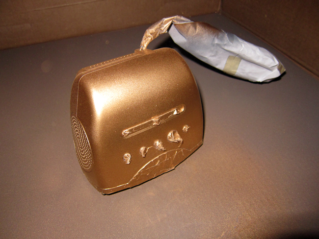 Gold Spray Painting My Old Alarm Clock - << joeandcheryl.com >>