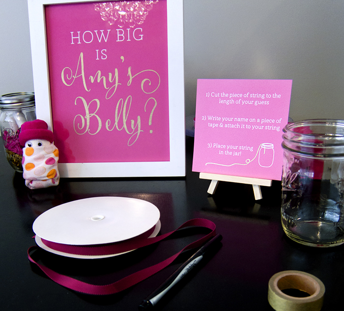 A Magenta and Gold Baby Shower - Measure mommy's belly game - >> joeandcheryl.com <<